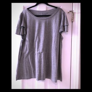 LOFT grey top with layered ruffled sleeves XL